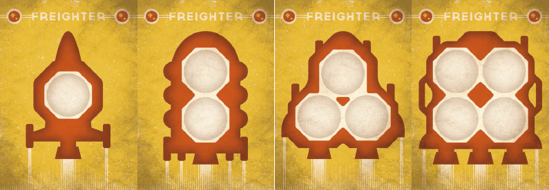 cog gaming board game review - far space foundry yellow freighters
