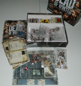 COG Gaming - Board game review of Plaid Hat Games's zombie survival game Dead of Winter. Image of box contents.