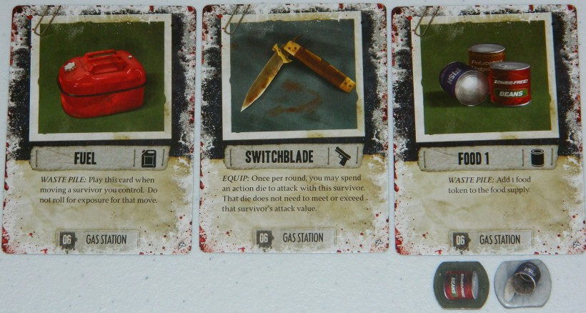 COG Gaming - Dead of Winter food, fuel, and weapon card examples.