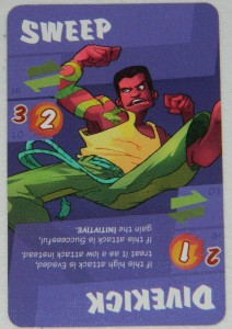 COG Gaming - Dragon Punch kickstarter card game, character card with sweep and divekick abilities