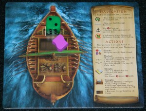 Ophir review by COG Gaming, influence dice and player board