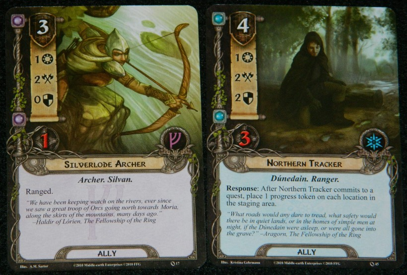 LOrd of the Rings card game Silverlode Archer and Northern Tracker card
