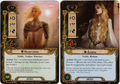 Eowyn and Glorfindel hero cards from core set of LOTR LCG | COG GAMING