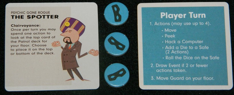 Burgle Bros. character, stealth tokens, and player reference card for COG Gaming board game review