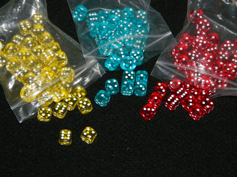 Steampunk Rally blue, yellow, and red dice colors