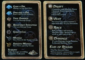 Steampunk Rally player reference cards