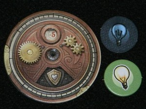 Steampunk Rally damage counter and lightbulb token