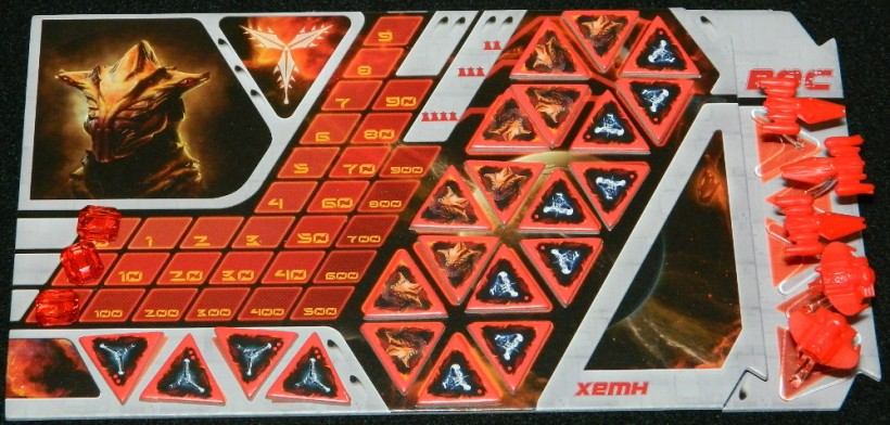 Galaxy of Trian player board closeup for COG Gaming review