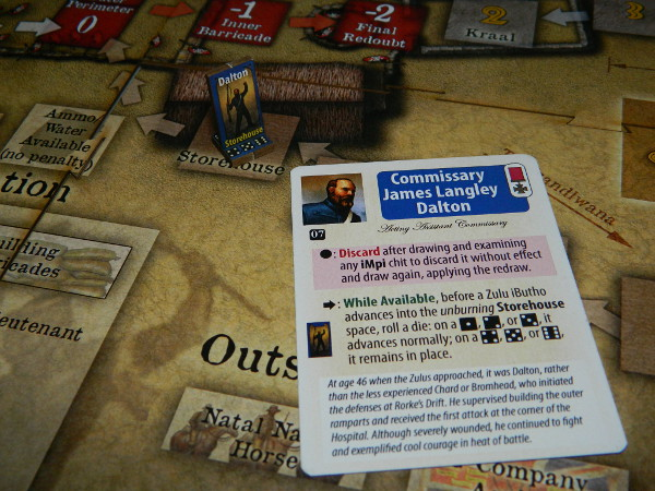 Dalton card example for Zulus on the Ramparts! board game review solo playthrough