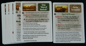 Men of Harlech and Cattle Stampede cards for Zulus on the Ramparts! board game