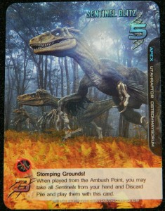 Apex Theropod Deck Building Game Second edition review from COG Gaming - Sentinel Blitz card for Utahraptor dinosaur