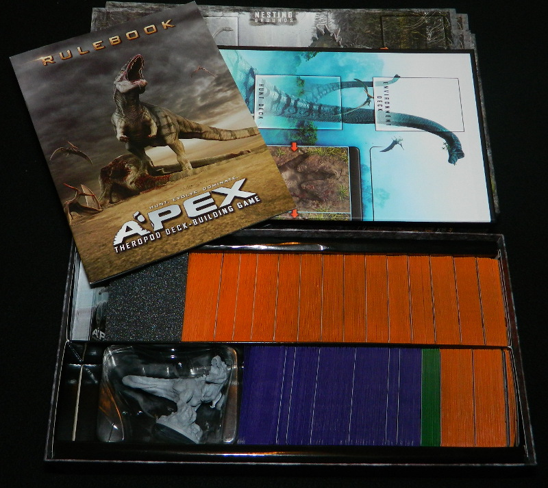Box contents for Apex Theropod Deck Building game second edition