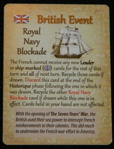 British Blockade in Empires in America board game